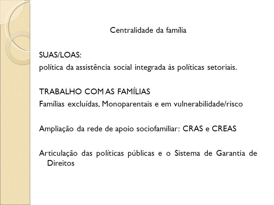 Centralidade da família SUAS/LOAS: política da assistência social integrada às políticas setoriais. TRABALHO COM AS FAMÍLIAS Famílias excluídas, Monop
