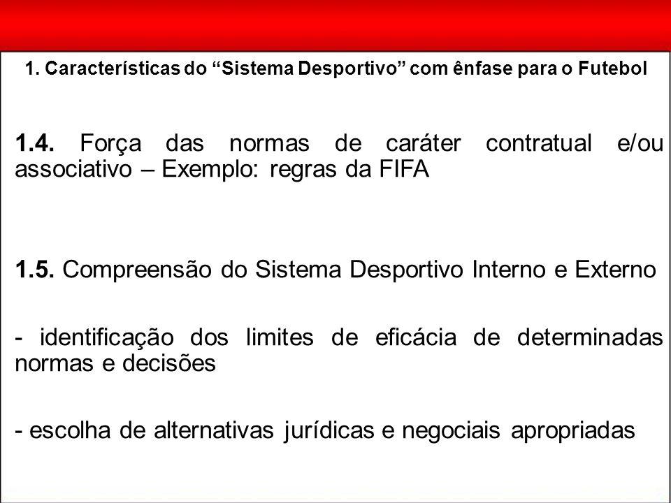 1.4. Força das normas de caráter contratual e/ou associativo – Exemplo: regras da FIFA 1.5. Compreensão do Sistema Desportivo Interno e Externo - iden