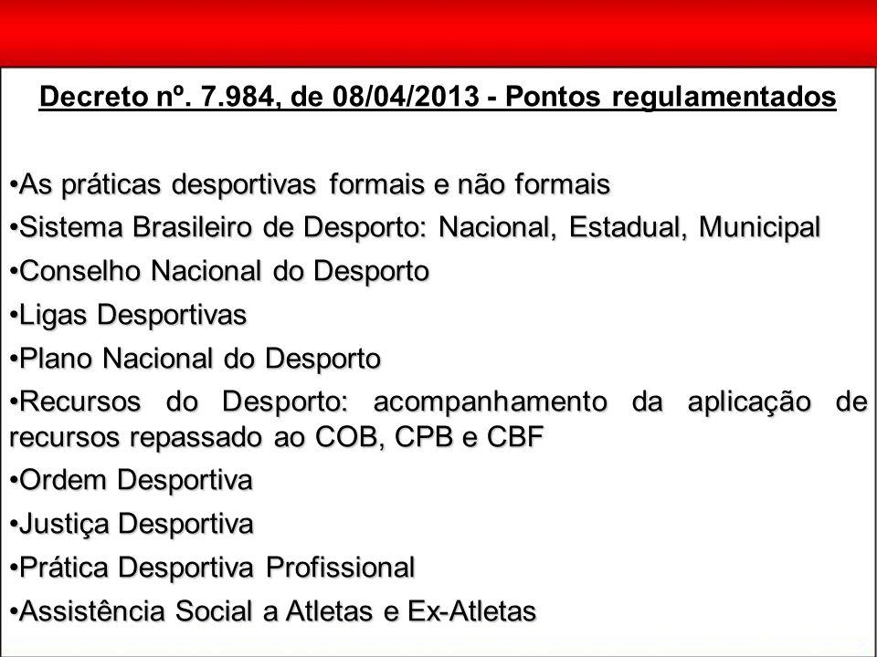 Decreto nº. 7.984, de 08/04/2013 - Pontos regulamentados As práticas desportivas formais e não formaisAs práticas desportivas formais e não formais Si