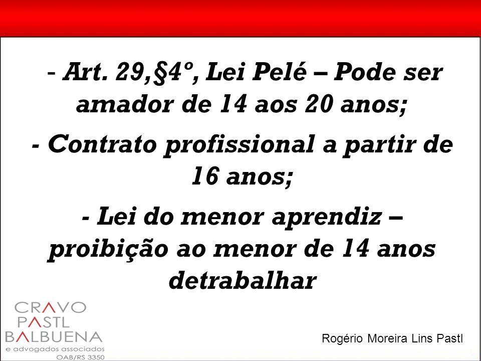 - Art. 29,§4º, Lei Pelé – Pode ser amador de 14 aos 20 anos; - Contrato profissional a partir de 16 anos; - Lei do menor aprendiz – proibição ao menor