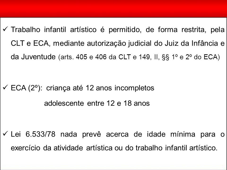 Trabalho infantil artístico é permitido, de forma restrita, pela CLT e ECA, mediante autorização judicial do Juiz da Infância e da Juventude (arts. 40