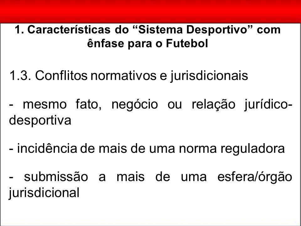 1.3. Conflitos normativos e jurisdicionais - mesmo fato, negócio ou relação jurídico- desportiva - incidência de mais de uma norma reguladora - submis