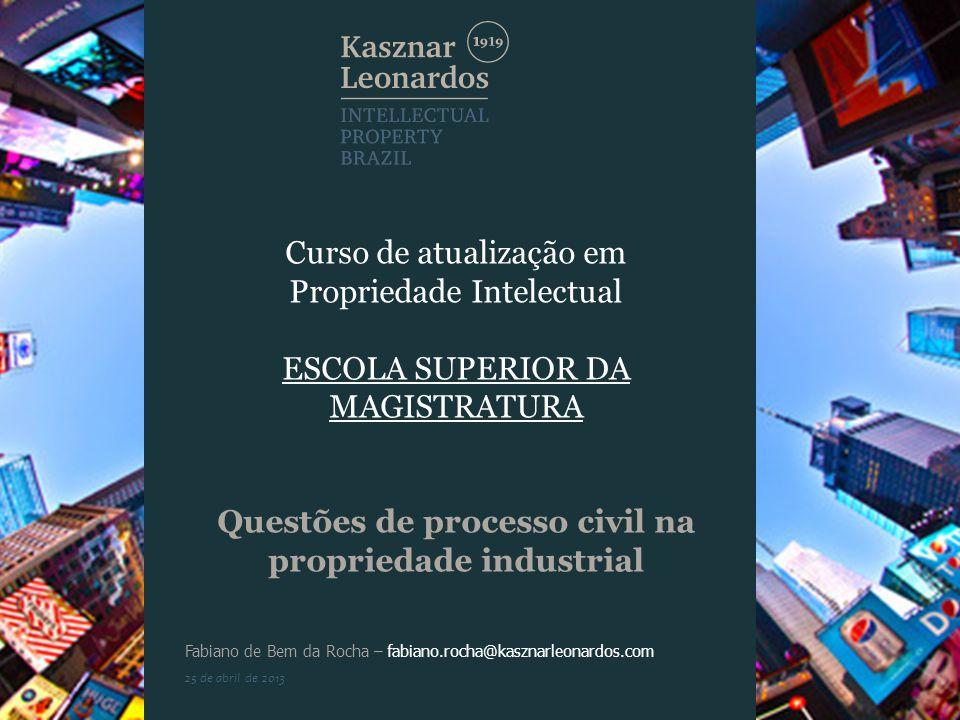 Curso de atualização em Propriedade Intelectual ESCOLA SUPERIOR DA MAGISTRATURA Questões de processo civil na propriedade industrial Fabiano de Bem da