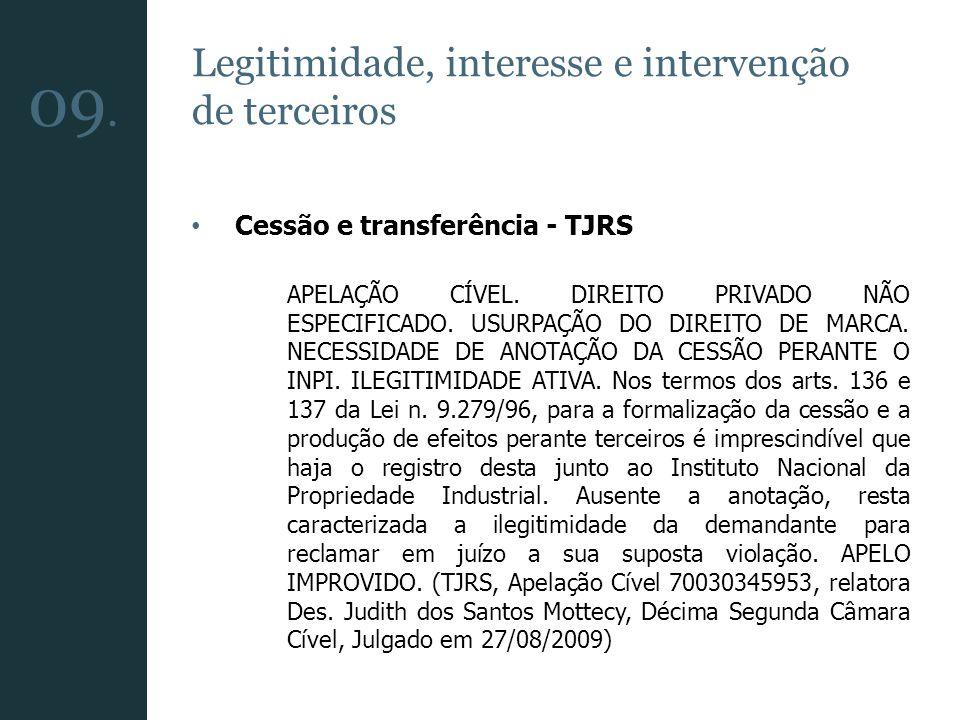 Legitimidade, interesse e intervenção de terceiros Cessão e transferência - TJRS APELAÇÃO CÍVEL. DIREITO PRIVADO NÃO ESPECIFICADO. USURPAÇÃO DO DIREIT