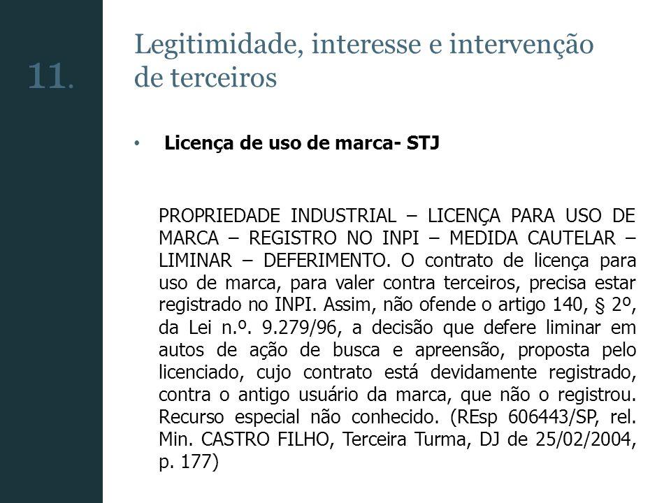 Legitimidade, interesse e intervenção de terceiros Licença de uso de marca- STJ PROPRIEDADE INDUSTRIAL – LICENÇA PARA USO DE MARCA – REGISTRO NO INPI