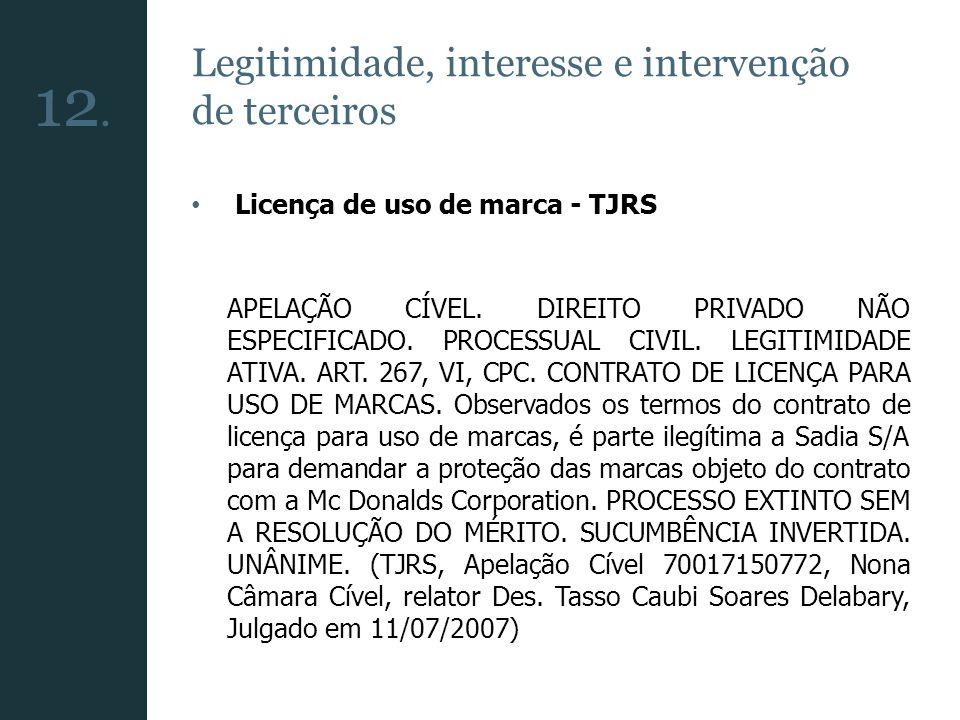 Legitimidade, interesse e intervenção de terceiros Licença de uso de marca - TJRS APELAÇÃO CÍVEL. DIREITO PRIVADO NÃO ESPECIFICADO. PROCESSUAL CIVIL.