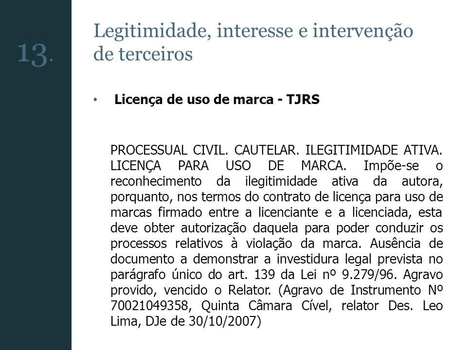 Legitimidade, interesse e intervenção de terceiros Licença de uso de marca - TJRS PROCESSUAL CIVIL. CAUTELAR. ILEGITIMIDADE ATIVA. LICENÇA PARA USO DE