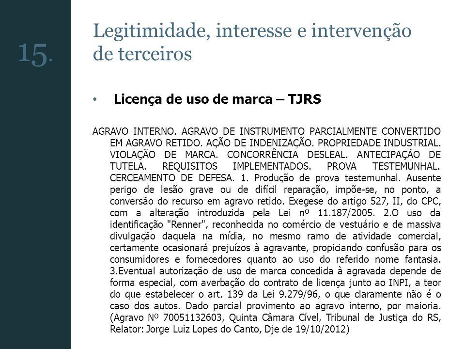 Legitimidade, interesse e intervenção de terceiros Licença de uso de marca – TJRS AGRAVO INTERNO. AGRAVO DE INSTRUMENTO PARCIALMENTE CONVERTIDO EM AGR