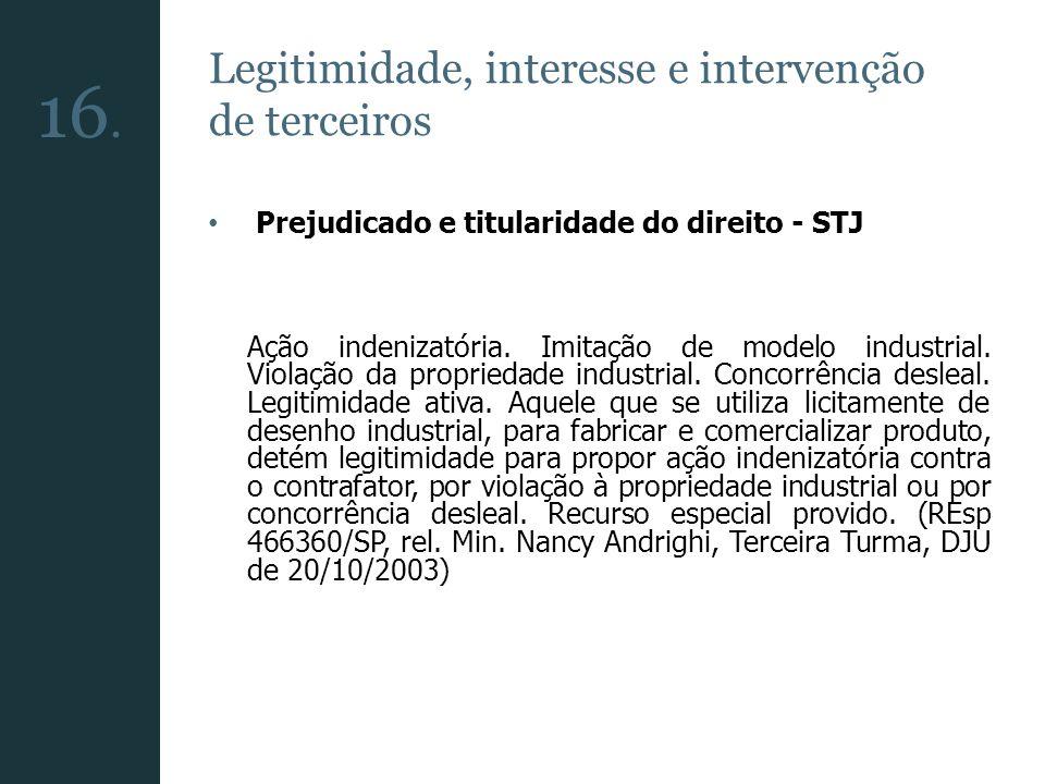 Legitimidade, interesse e intervenção de terceiros Prejudicado e titularidade do direito - STJ Ação indenizatória. Imitação de modelo industrial. Viol