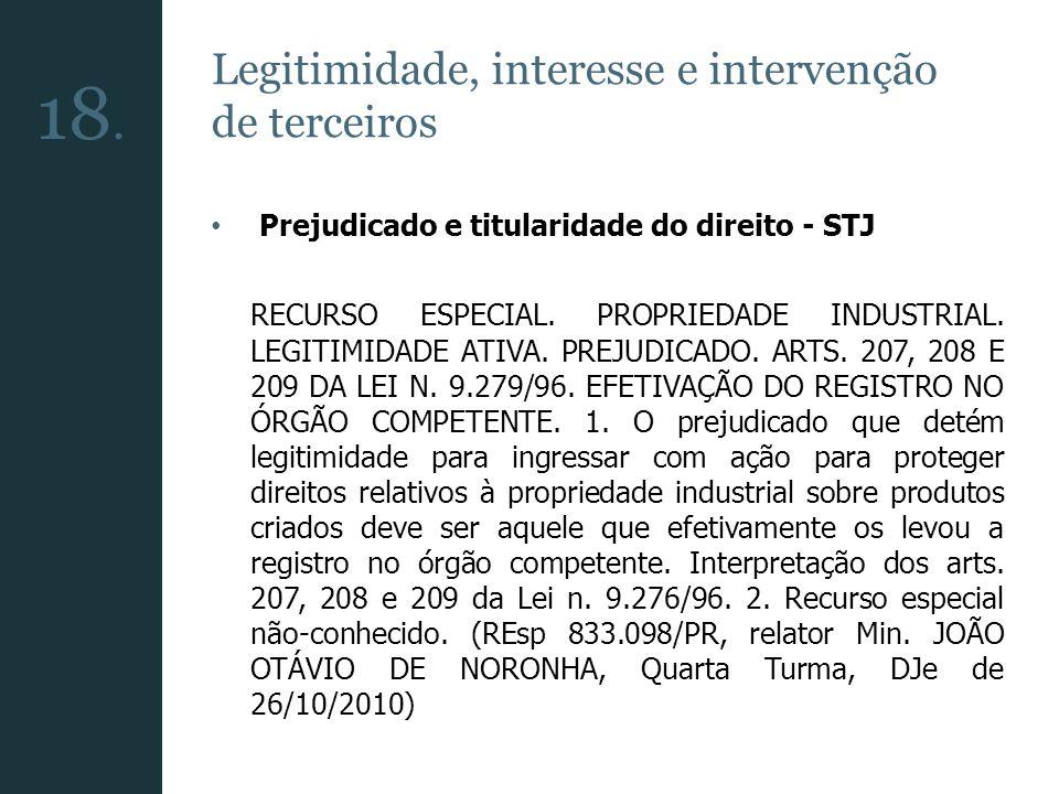 Legitimidade, interesse e intervenção de terceiros Prejudicado e titularidade do direito - STJ RECURSO ESPECIAL. PROPRIEDADE INDUSTRIAL. LEGITIMIDADE