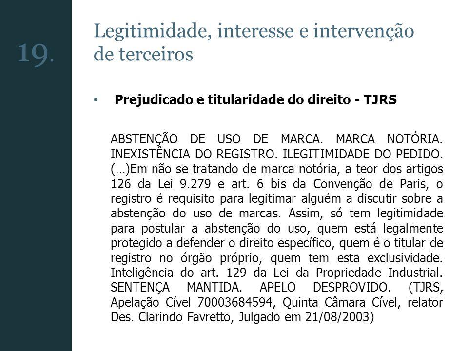 Legitimidade, interesse e intervenção de terceiros Prejudicado e titularidade do direito - TJRS ABSTENÇÃO DE USO DE MARCA. MARCA NOTÓRIA. INEXISTÊNCIA
