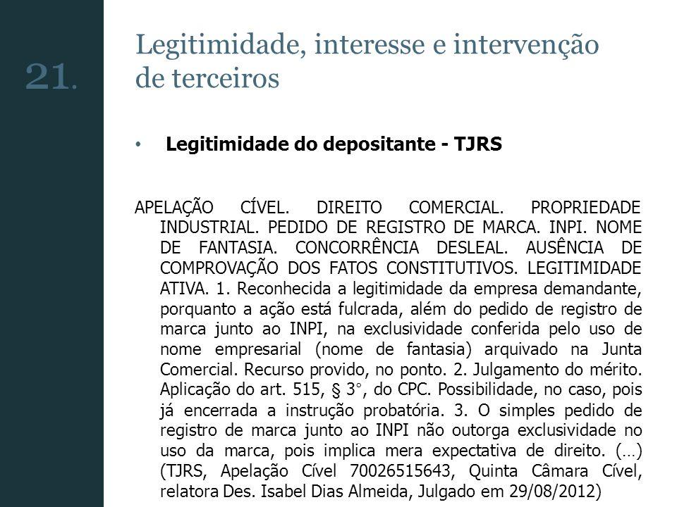 Legitimidade, interesse e intervenção de terceiros Legitimidade do depositante - TJRS APELAÇÃO CÍVEL. DIREITO COMERCIAL. PROPRIEDADE INDUSTRIAL. PEDID