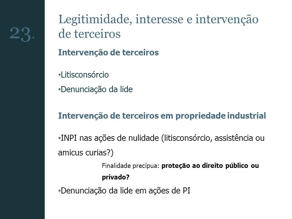 Legitimidade, interesse e intervenção de terceiros Intervenção de terceiros Litisconsórcio Denunciação da lide Intervenção de terceiros em propriedade