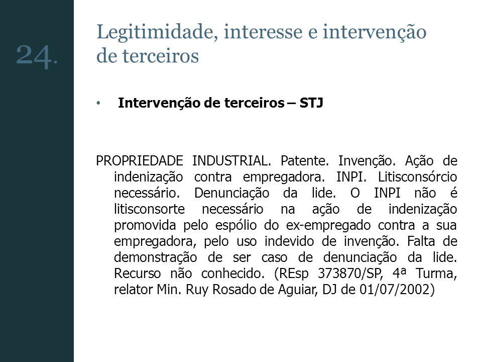Legitimidade, interesse e intervenção de terceiros Intervenção de terceiros – STJ PROPRIEDADE INDUSTRIAL. Patente. Invenção. Ação de indenização contr