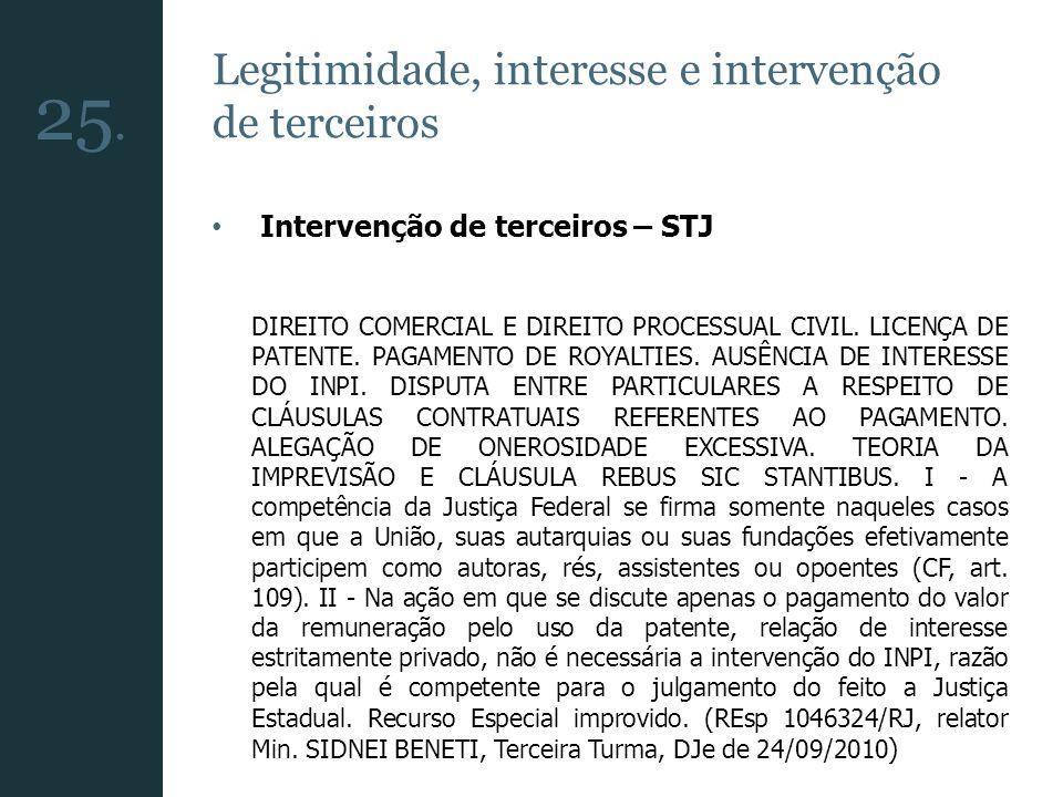 Legitimidade, interesse e intervenção de terceiros Intervenção de terceiros – STJ DIREITO COMERCIAL E DIREITO PROCESSUAL CIVIL. LICENÇA DE PATENTE. PA