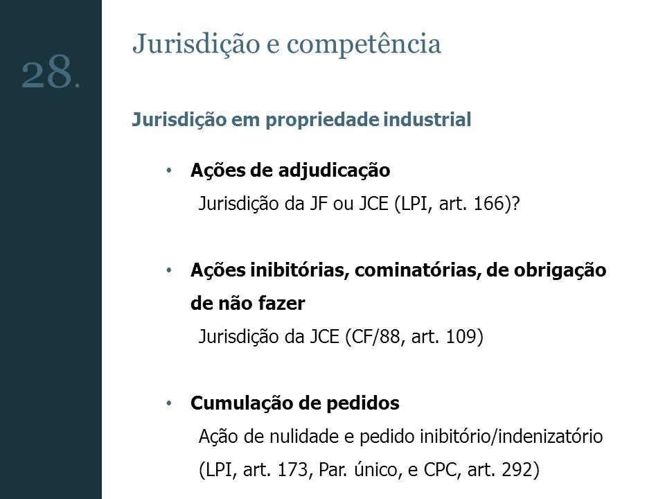 Jurisdição e competência Jurisdição em propriedade industrial Ações de adjudicação Jurisdição da JF ou JCE (LPI, art. 166)? Ações inibitórias, cominat