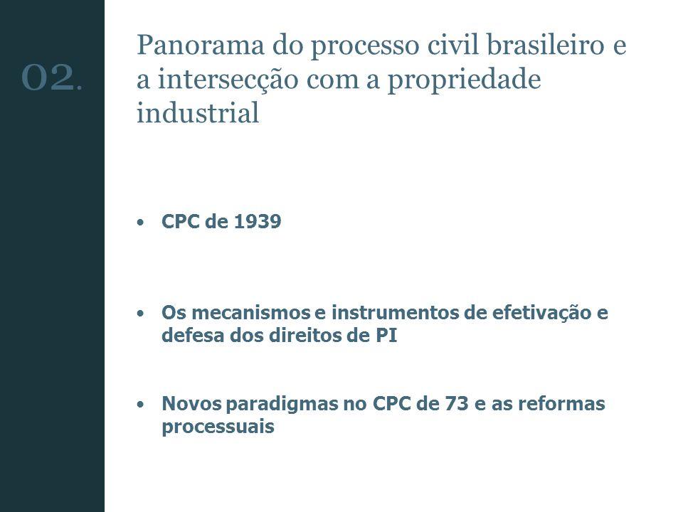 Panorama do processo civil brasileiro e a intersecção com a propriedade industrial CPC de 1939 Os mecanismos e instrumentos de efetivação e defesa dos