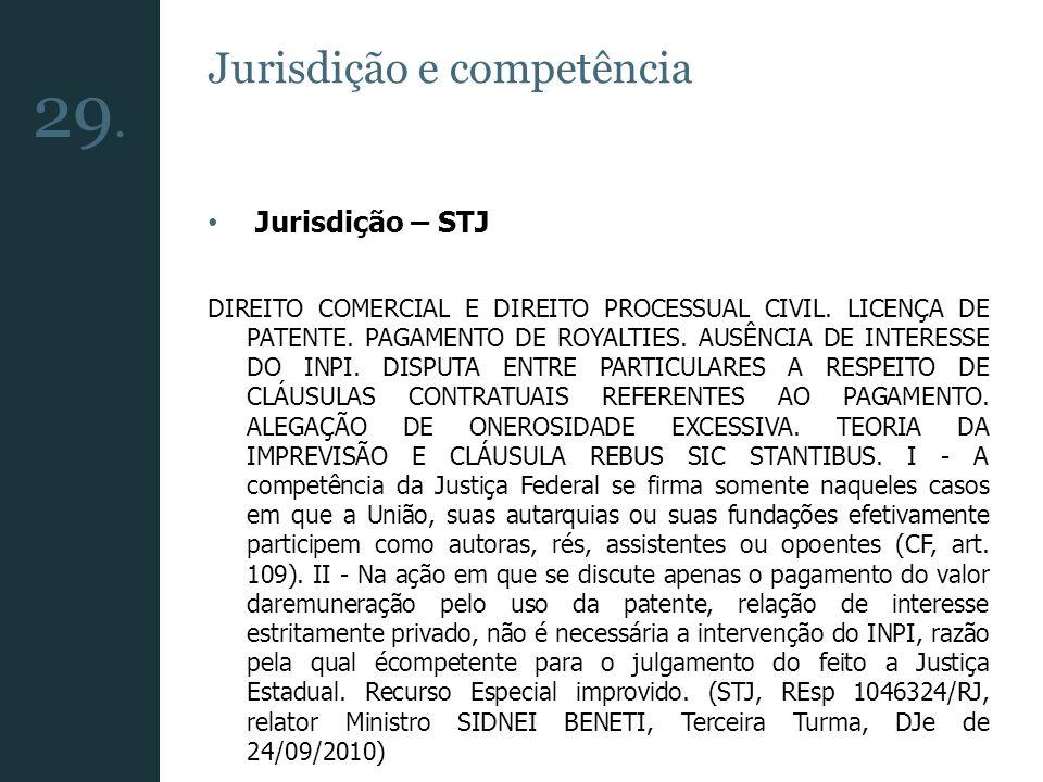 Jurisdição e competência Jurisdição – STJ DIREITO COMERCIAL E DIREITO PROCESSUAL CIVIL. LICENÇA DE PATENTE. PAGAMENTO DE ROYALTIES. AUSÊNCIA DE INTERE