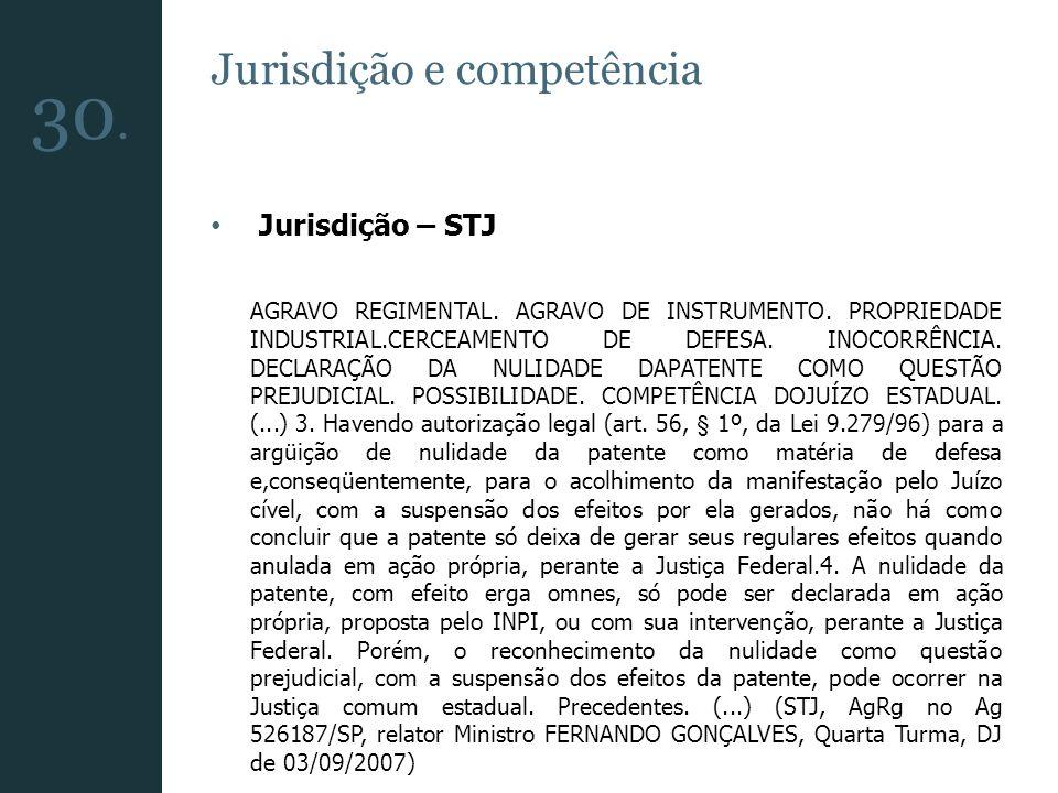 Jurisdição e competência Jurisdição – STJ AGRAVO REGIMENTAL. AGRAVO DE INSTRUMENTO. PROPRIEDADE INDUSTRIAL.CERCEAMENTO DE DEFESA. INOCORRÊNCIA. DECLAR