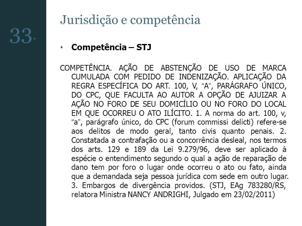 Jurisdição e competência Competência – STJ COMPETÊNCIA. AÇÃO DE ABSTENÇÃO DE USO DE MARCA CUMULADA COM PEDIDO DE INDENIZAÇÃO. APLICAÇÃO DA REGRA ESPEC