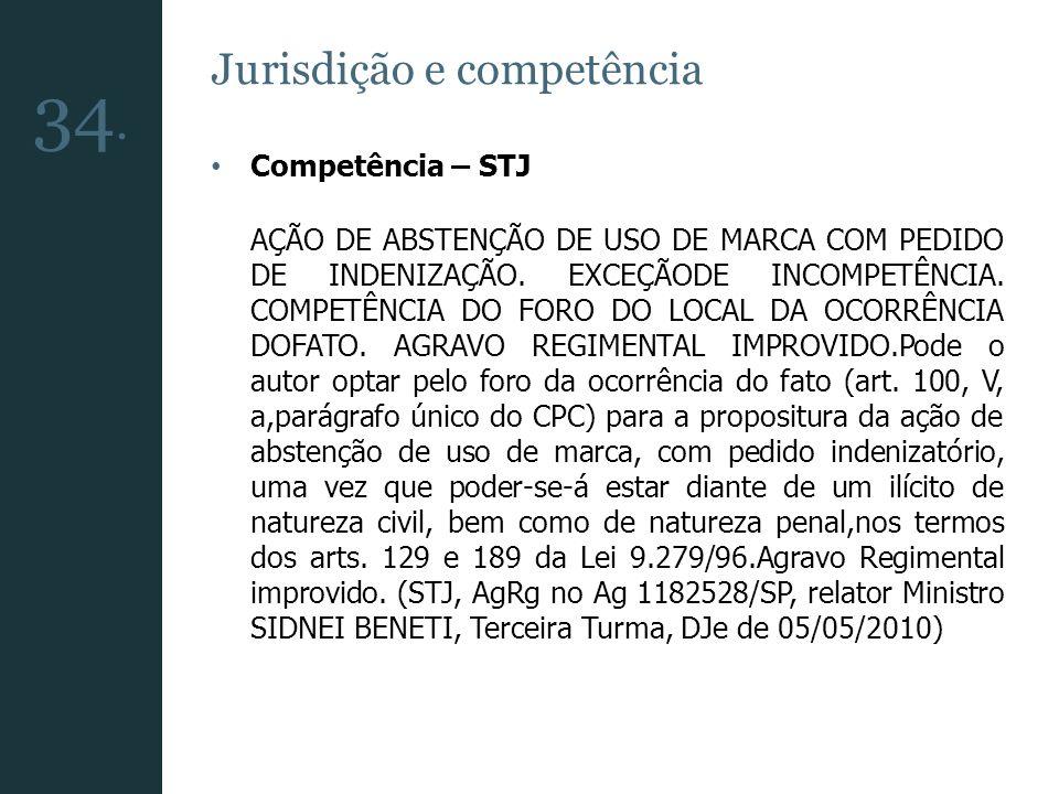Jurisdição e competência Competência – STJ AÇÃO DE ABSTENÇÃO DE USO DE MARCA COM PEDIDO DE INDENIZAÇÃO. EXCEÇÃODE INCOMPETÊNCIA. COMPETÊNCIA DO FORO D