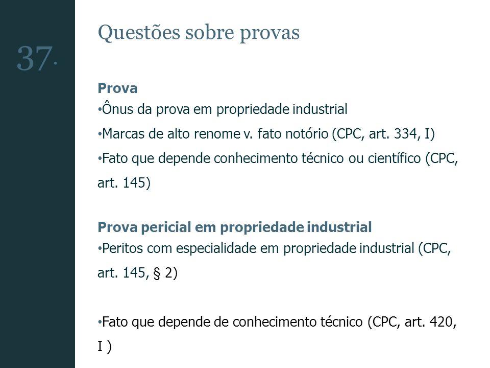 Questões sobre provas Prova Ônus da prova em propriedade industrial Marcas de alto renome v. fato notório (CPC, art. 334, I) Fato que depende conhecim