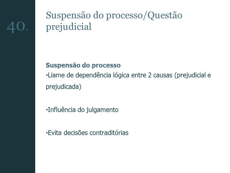 Suspensão do processo/Questão prejudicial Suspensão do processo Liame de dependência lógica entre 2 causas (prejudicial e prejudicada) Influência do j