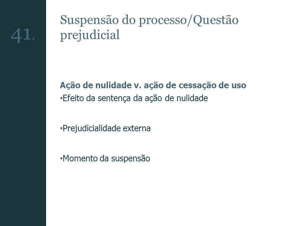 Suspensão do processo/Questão prejudicial Ação de nulidade v. ação de cessação de uso Efeito da sentença da ação de nulidade Prejudicialidade externa