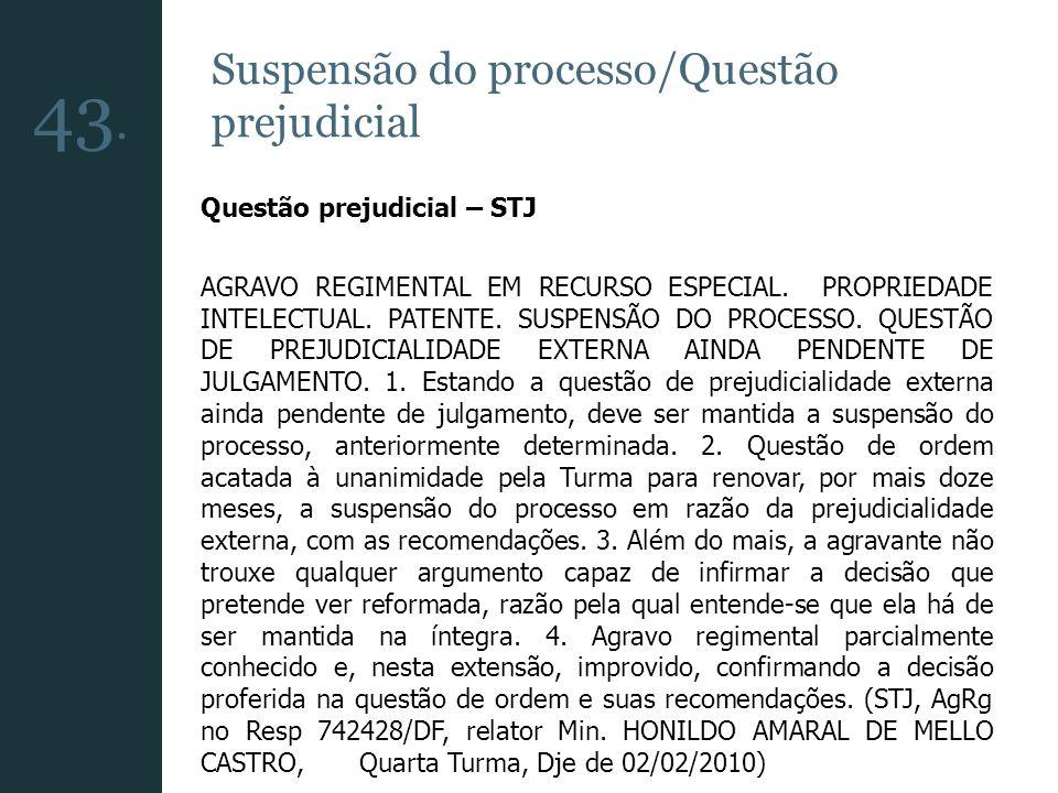 Suspensão do processo/Questão prejudicial Questão prejudicial – STJ AGRAVO REGIMENTAL EM RECURSO ESPECIAL. PROPRIEDADE INTELECTUAL. PATENTE. SUSPENSÃO