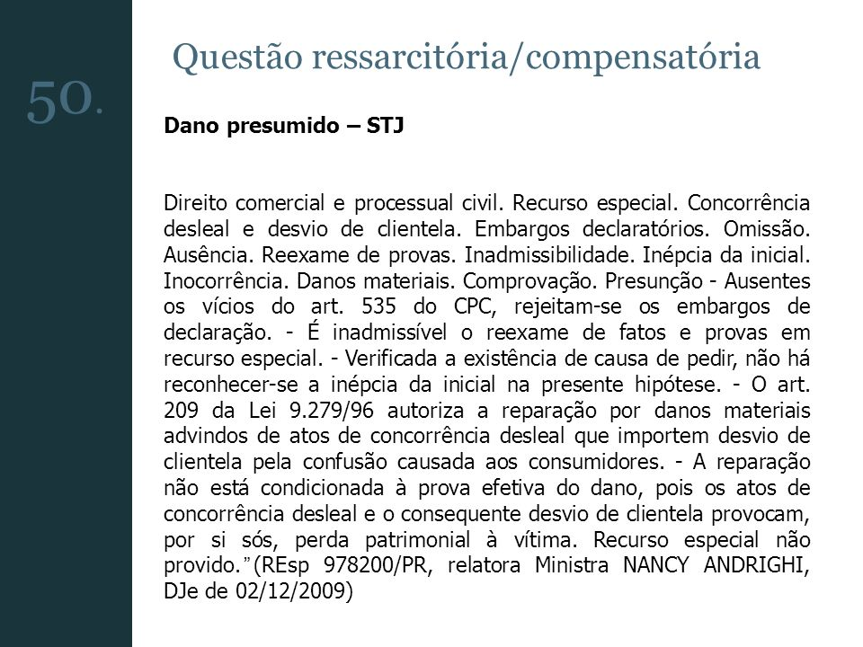 Questão ressarcitória/compensatória Dano presumido – STJ Direito comercial e processual civil. Recurso especial. Concorrência desleal e desvio de clie