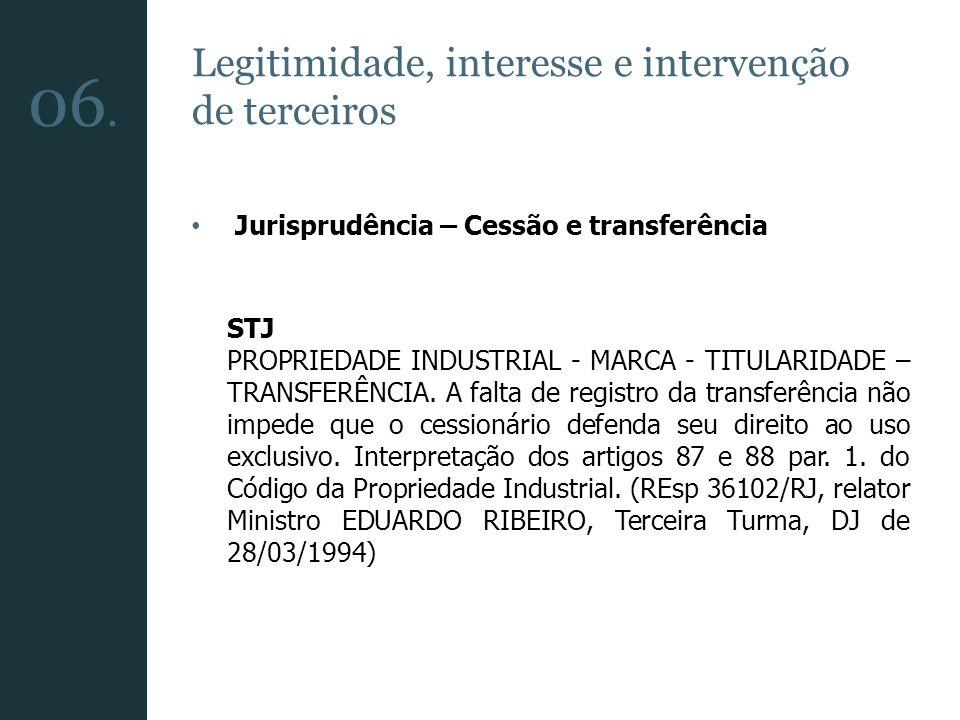 Legitimidade, interesse e intervenção de terceiros Jurisprudência – Cessão e transferência STJ PROPRIEDADE INDUSTRIAL - MARCA - TITULARIDADE – TRANSFE