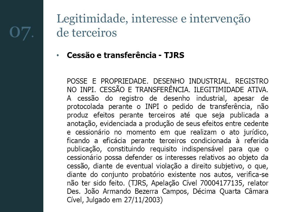Legitimidade, interesse e intervenção de terceiros Cessão e transferência - TJRS (…) A cessão de registro de marca, disciplinada nos arts.