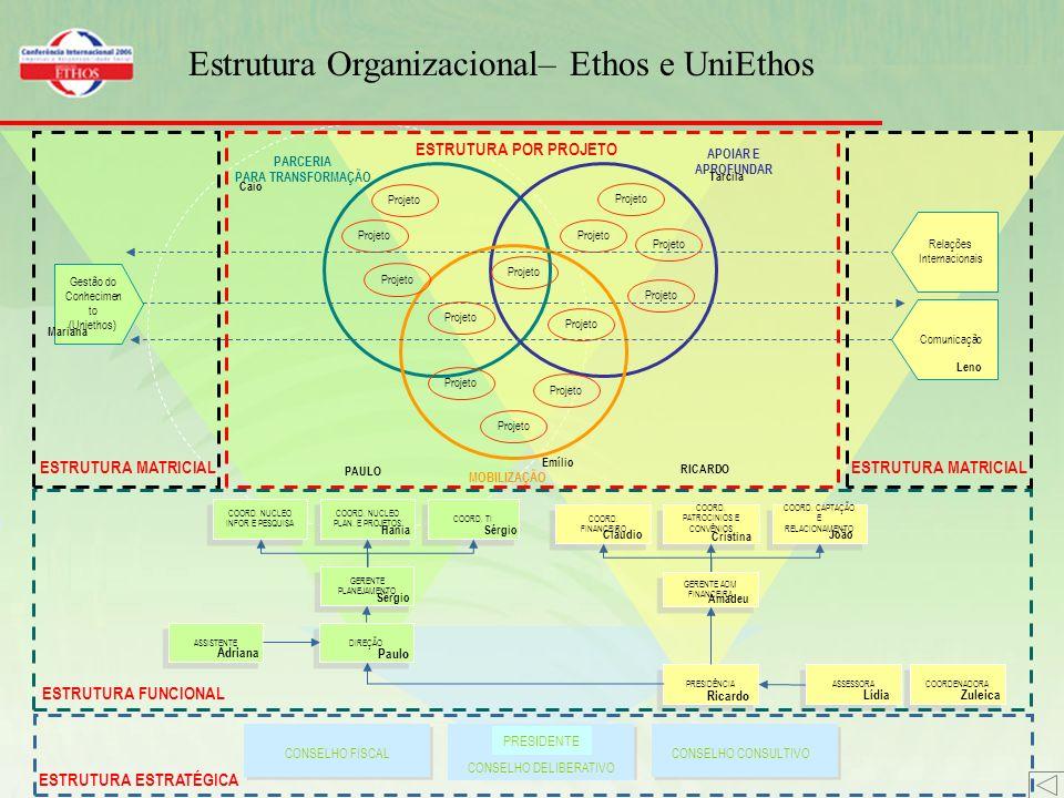 Estrutura Organizacional– Ethos e UniEthos CONSELHO FISCAL CONSELHO DELIBERATIVO PRESIDENTE CONSELHO CONSULTIVO DIREÇÃO GERENTE PLANEJAMENTO ASSISTENTE COORD.