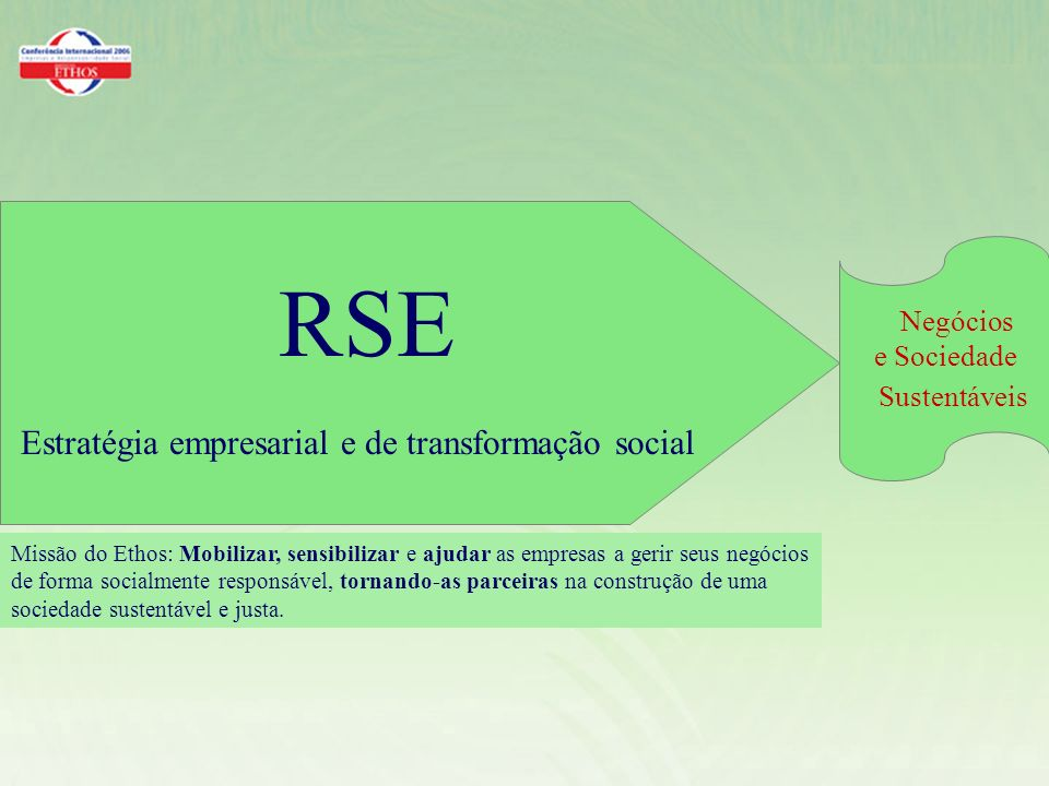 RSE Estratégia empresarial e de transformação social Missão do Ethos: Mobilizar, sensibilizar e ajudar as empresas a gerir seus negócios de forma socialmente responsável, tornando-as parceiras na construção de uma sociedade sustentável e justa.