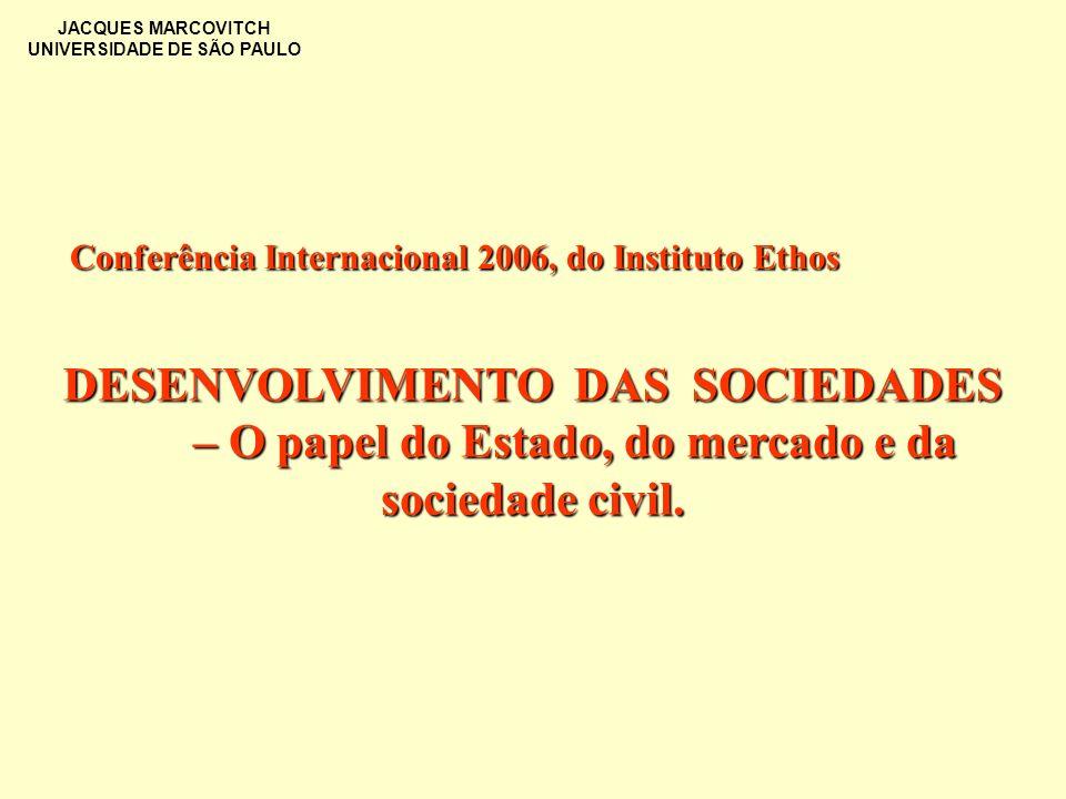 JACQUES MARCOVITCH UNIVERSIDADE DE SÃO PAULO DESENVOLVIMENTO DAS SOCIEDADES – O papel do Estado, do mercado e da sociedade civil. Conferência Internac
