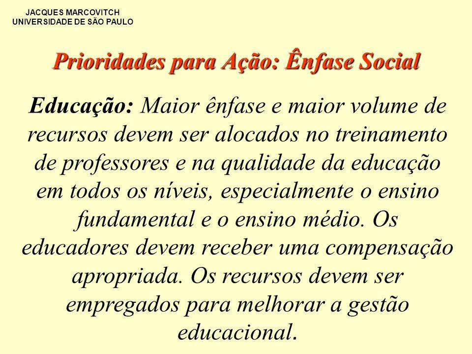 JACQUES MARCOVITCH UNIVERSIDADE DE SÃO PAULO Prioridades para Ação: Ênfase Social Educação: Maior ênfase e maior volume de recursos devem ser alocados