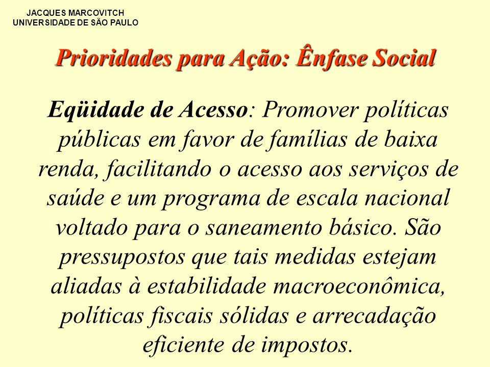 JACQUES MARCOVITCH UNIVERSIDADE DE SÃO PAULO Eqüidade de Acesso: Promover políticas públicas em favor de famílias de baixa renda, facilitando o acesso