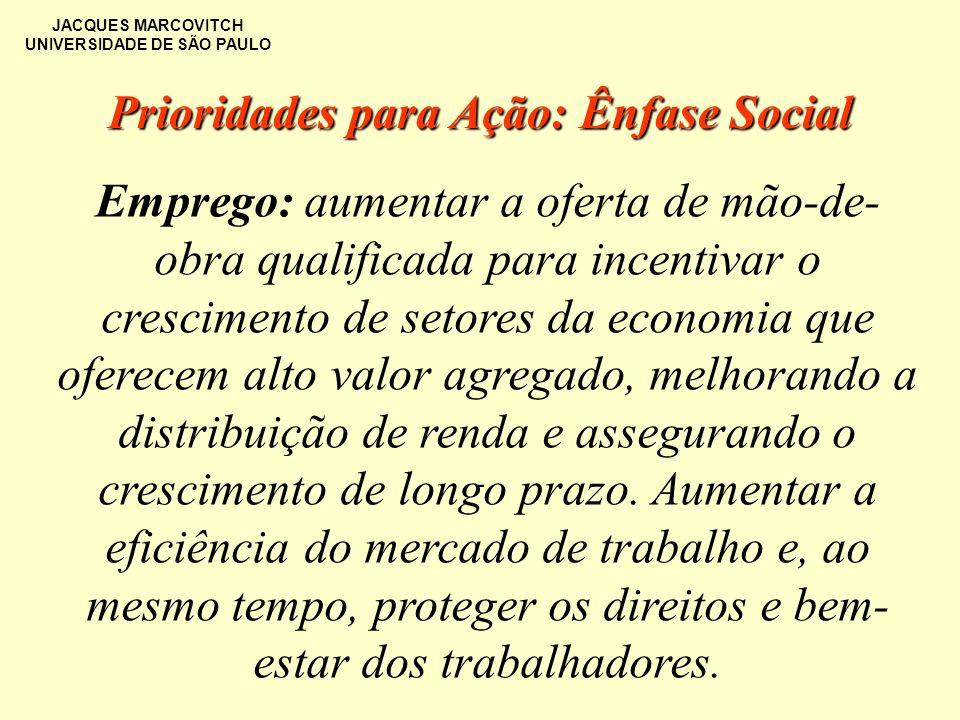 JACQUES MARCOVITCH UNIVERSIDADE DE SÃO PAULO Emprego: aumentar a oferta de mão-de- obra qualificada para incentivar o crescimento de setores da econom