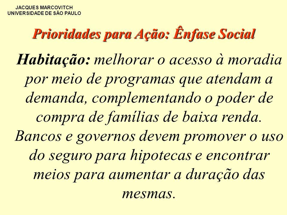JACQUES MARCOVITCH UNIVERSIDADE DE SÃO PAULO Habitação: melhorar o acesso à moradia por meio de programas que atendam a demanda, complementando o pode