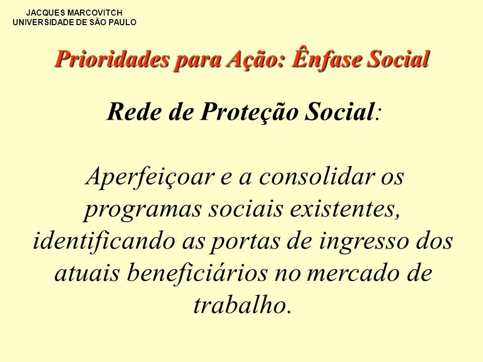 JACQUES MARCOVITCH UNIVERSIDADE DE SÃO PAULO Rede de Proteção Social: Aperfeiçoar e a consolidar os programas sociais existentes, identificando as por