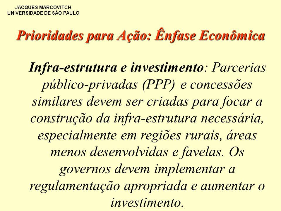 JACQUES MARCOVITCH UNIVERSIDADE DE SÃO PAULO Prioridades para Ação: Ênfase Econômica Infra-estrutura e investimento: Parcerias público-privadas (PPP)