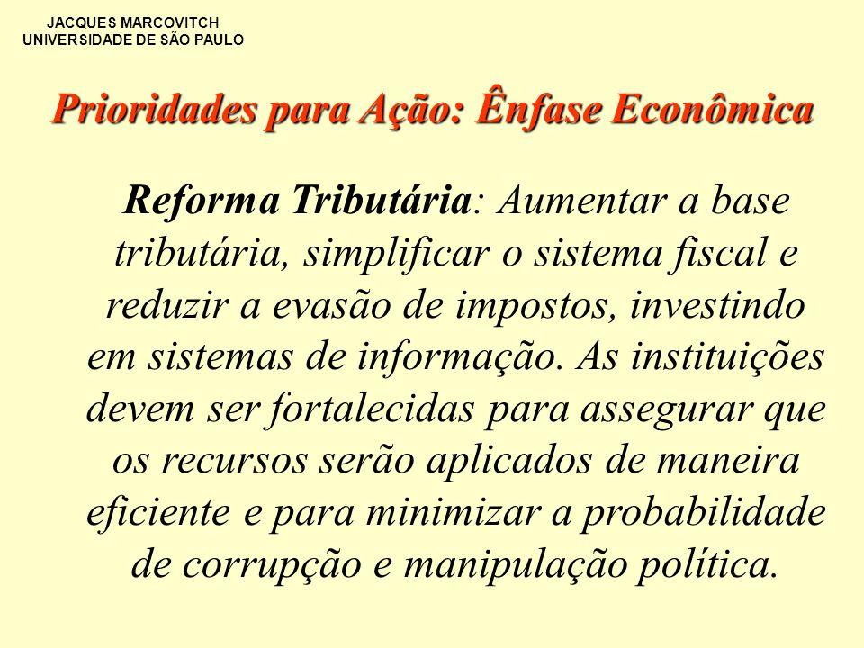 JACQUES MARCOVITCH UNIVERSIDADE DE SÃO PAULO Reforma Tributária: Aumentar a base tributária, simplificar o sistema fiscal e reduzir a evasão de impost