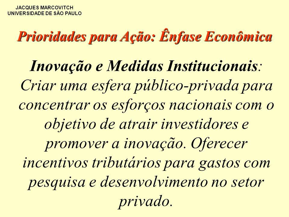 JACQUES MARCOVITCH UNIVERSIDADE DE SÃO PAULO Inovação e Medidas Institucionais: Criar uma esfera público-privada para concentrar os esforços nacionais