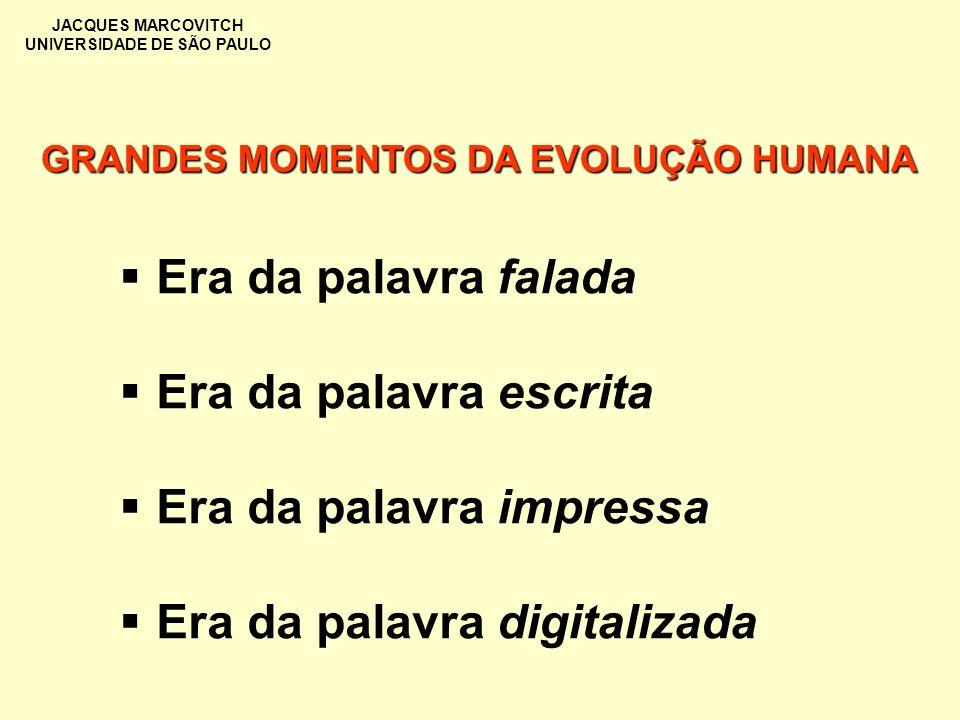 JACQUES MARCOVITCH UNIVERSIDADE DE SÃO PAULO GRANDES MOMENTOS DA EVOLUÇÃO HUMANA Era da palavra falada Era da palavra escrita Era da palavra impressa