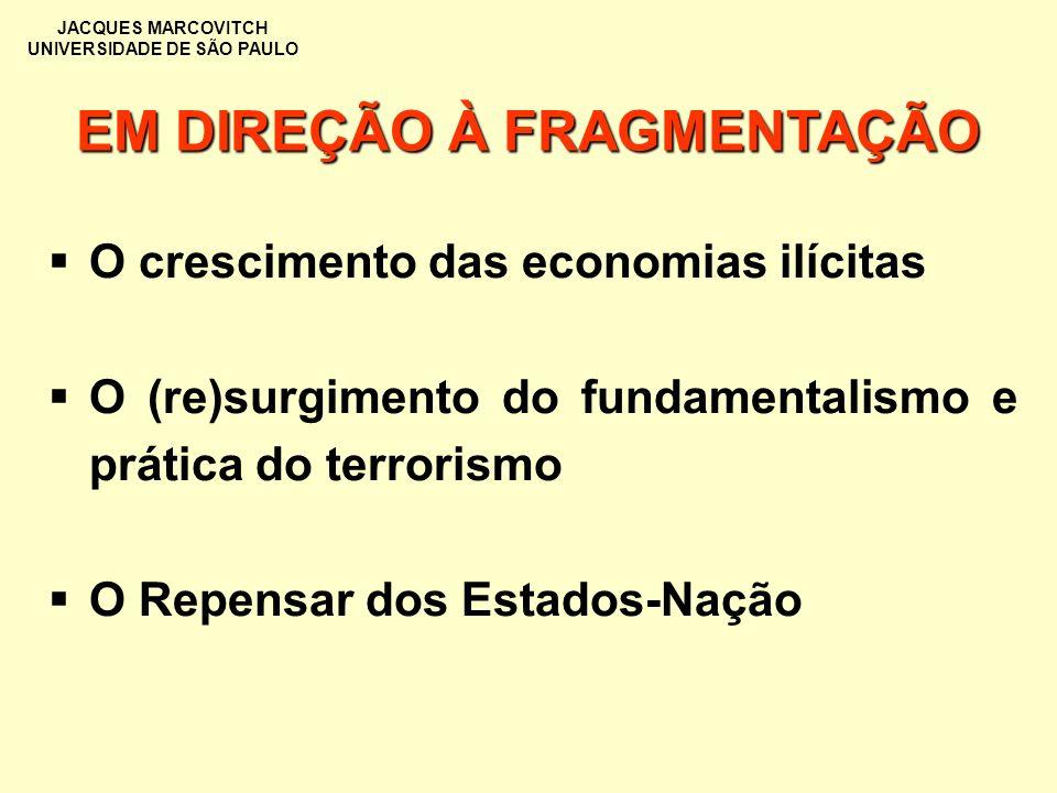JACQUES MARCOVITCH UNIVERSIDADE DE SÃO PAULO EM DIREÇÃO À FRAGMENTAÇÃO O crescimento das economias ilícitas O (re)surgimento do fundamentalismo e prát