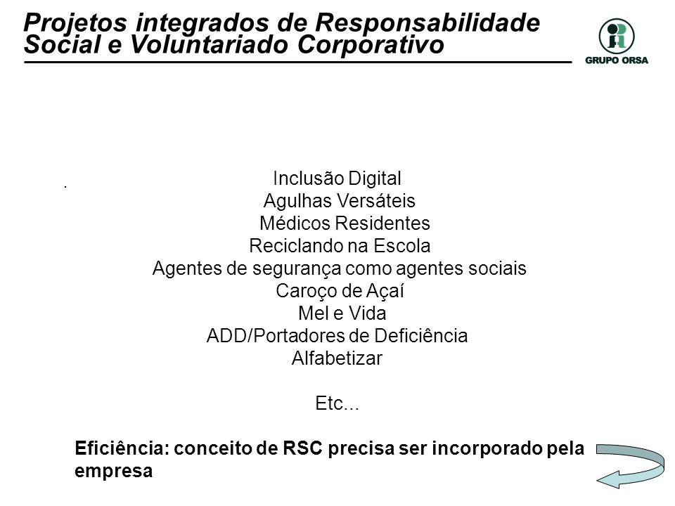 . Inclusão Digital Agulhas Versáteis Médicos Residentes Reciclando na Escola Agentes de segurança como agentes sociais Caroço de Açaí Mel e Vida ADD/P