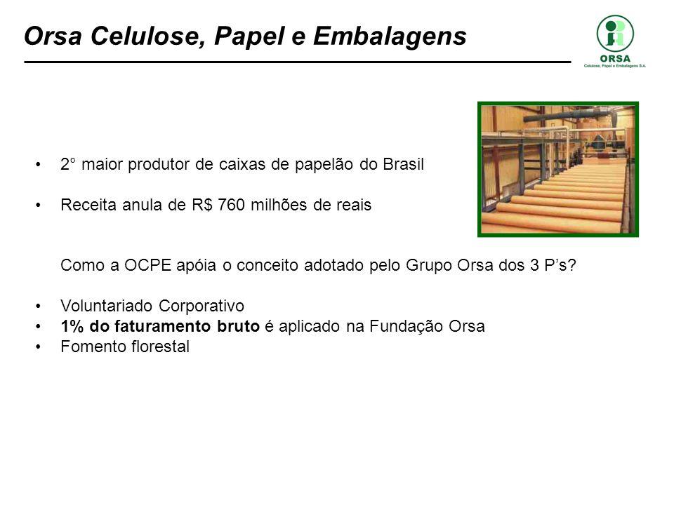 2° maior produtor de caixas de papelão do Brasil Receita anula de R$ 760 milhões de reais Como a OCPE apóia o conceito adotado pelo Grupo Orsa dos 3 P