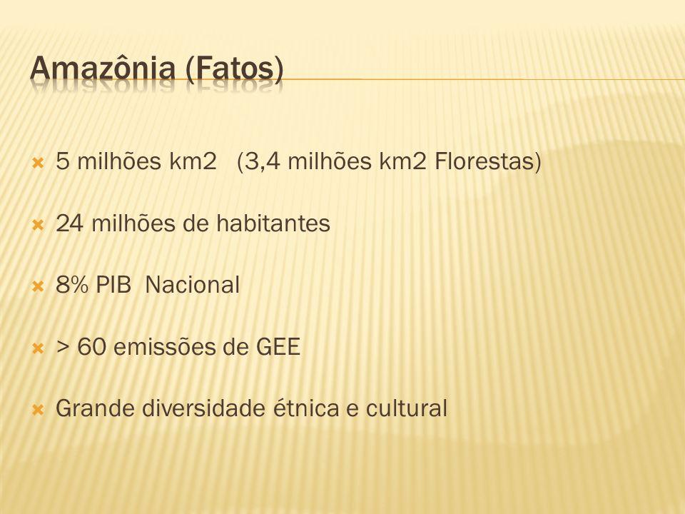 5 milhões km2 (3,4 milhões km2 Florestas) 24 milhões de habitantes 8% PIB Nacional > 60 emissões de GEE Grande diversidade étnica e cultural