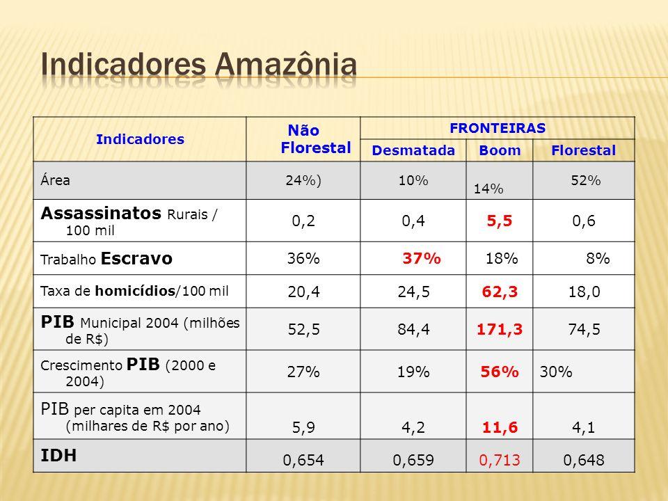Indicadores Não Florestal FRONTEIRAS DesmatadaBoomFlorestal Área24%)10% 14% 52% Assassinatos Rurais / 100 mil 0,20,45,50,6 Trabalho Escravo 36% 37% 18% 8% Taxa de homicídios/100 mil 20,424,562,318,0 PIB Municipal 2004 (milhões de R$) 52,584,4171,374,5 Crescimento PIB (2000 e 2004) 27%19%56%30% PIB per capita em 2004 (milhares de R$ por ano) 5,94,211,64,1 IDH 0,6540,6590,7130,648