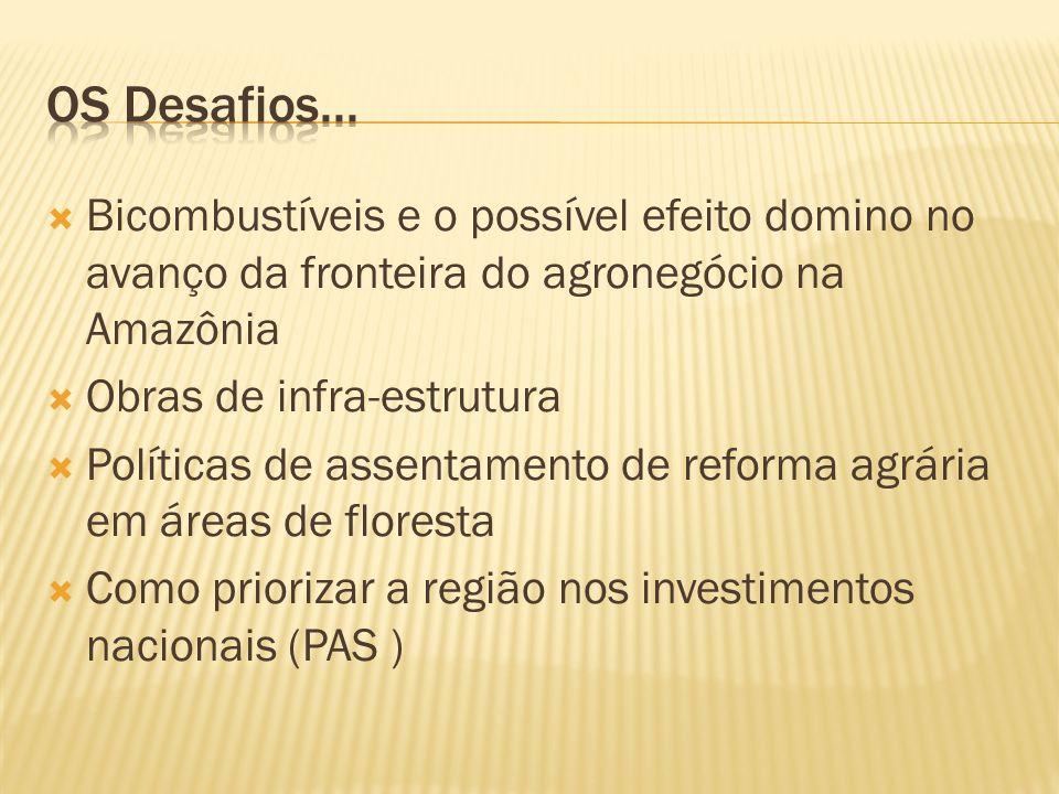 Bicombustíveis e o possível efeito domino no avanço da fronteira do agronegócio na Amazônia Obras de infra-estrutura Políticas de assentamento de reforma agrária em áreas de floresta Como priorizar a região nos investimentos nacionais (PAS )